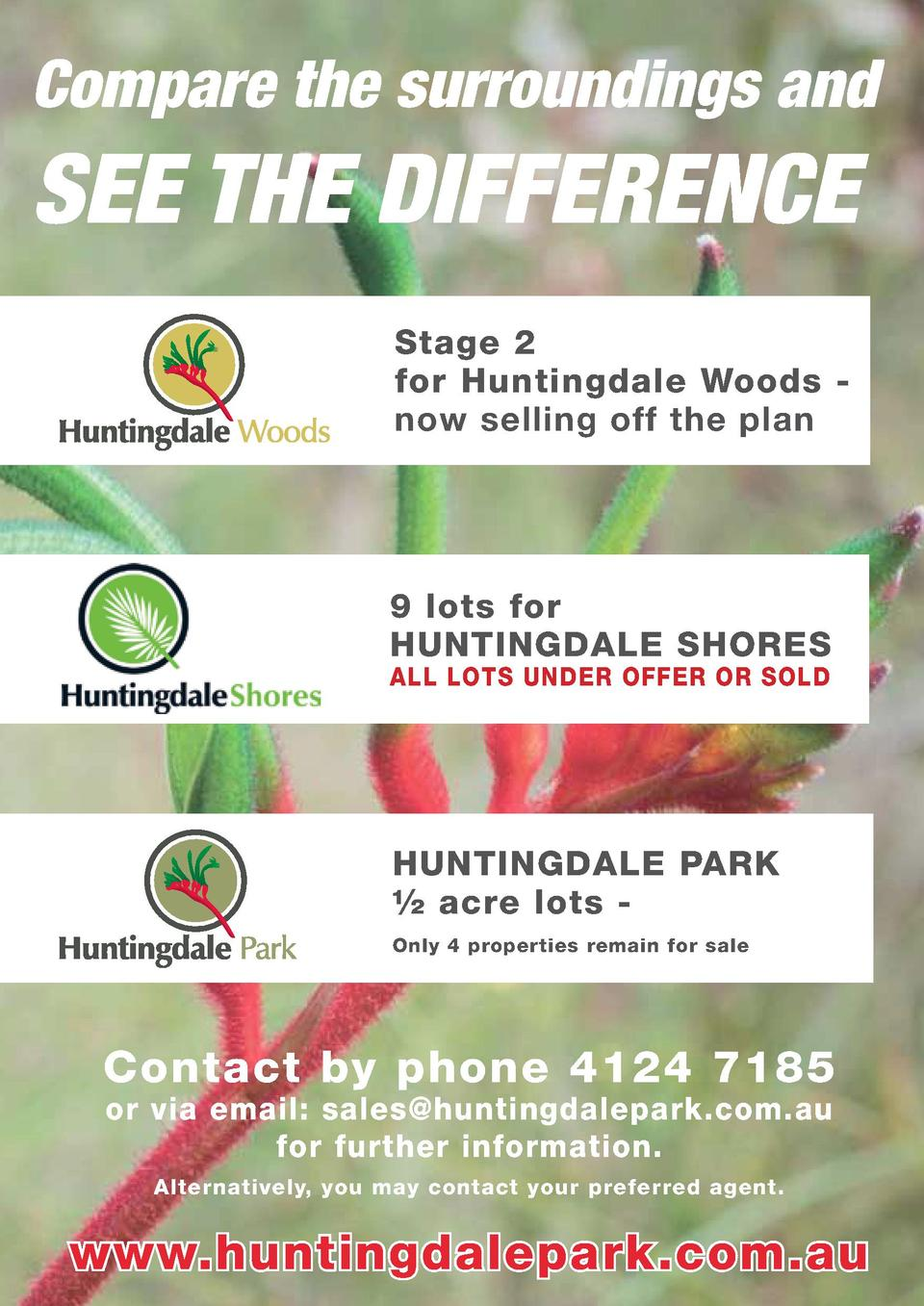 Compare the surroundings and  SEE THE DIFFERENCE Stage 2 for Huntingdale Woods now selling off the plan  9 lots for HUNTIN...