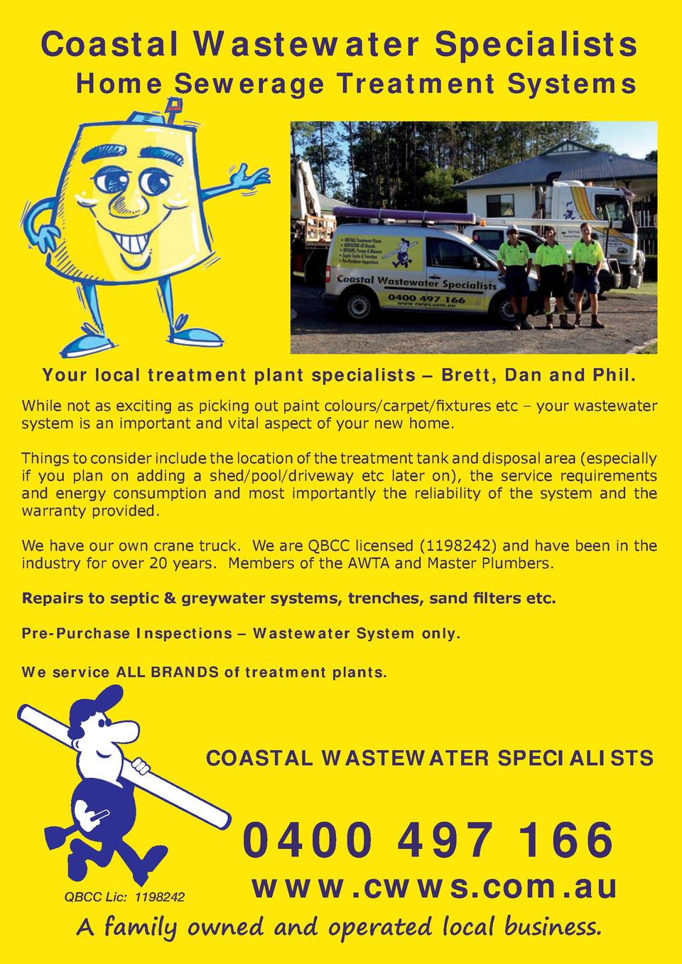 Coastal Wastewater Specialists Home Sewerage Treatment Systems  Your local treatment plant specialists     Brett, Dan and ...