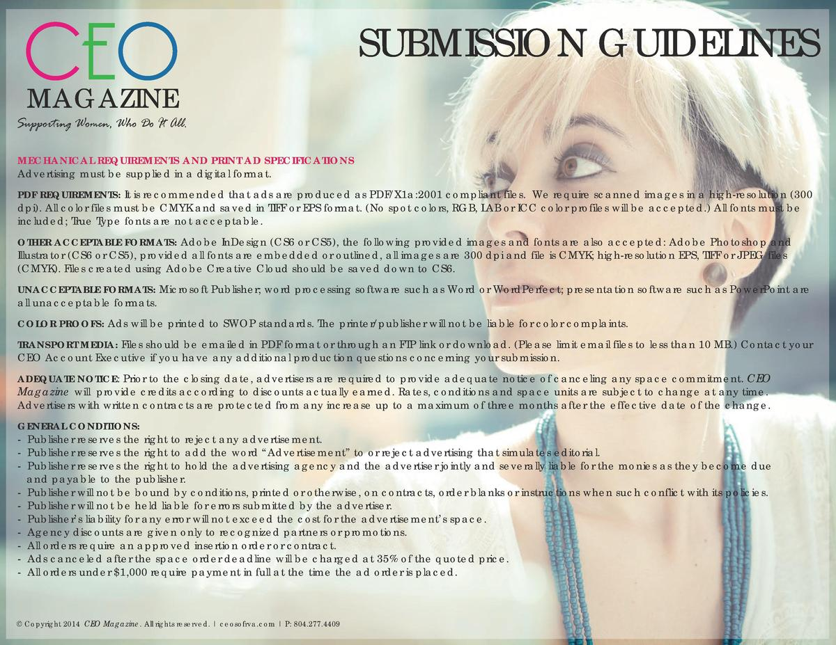 CEO  SUBMISSION GUIDELINES  MAGAZINE  Supporting Women, Who Do It All. MECHANICAL REQUIREMENTS AND PRINT AD SPECIFICATIONS...