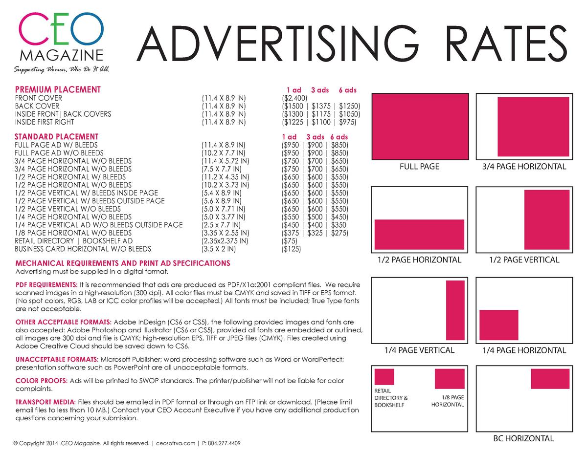 CEO ADVERTISING RATES MAGAZINE  Supporting Women, Who Do It All.  PREMIUM PLACEMENT  FRONT COVER BACK COVER INSIDE FRONT B...