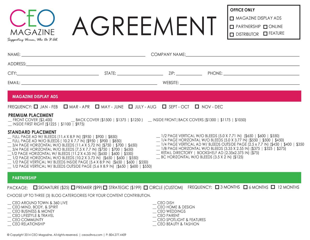 CEO AGREEMENT  OFFICE ONLY MAGAZINE DISPLAY ADS PARTNERSHIP DISTRIBUTOR  MAGAZINE  ONLINE FEATURE  Supporting Women, Who D...
