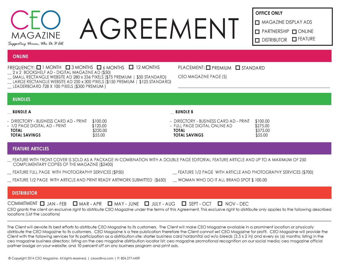 CEO AGREEMENT  OFFICE ONLY MAGAZINE DISPLAY ADS PARTNERSHIP  Supporting Women, Who Do It All.  ONLINE  DISTRIBUTOR  MAGAZI...