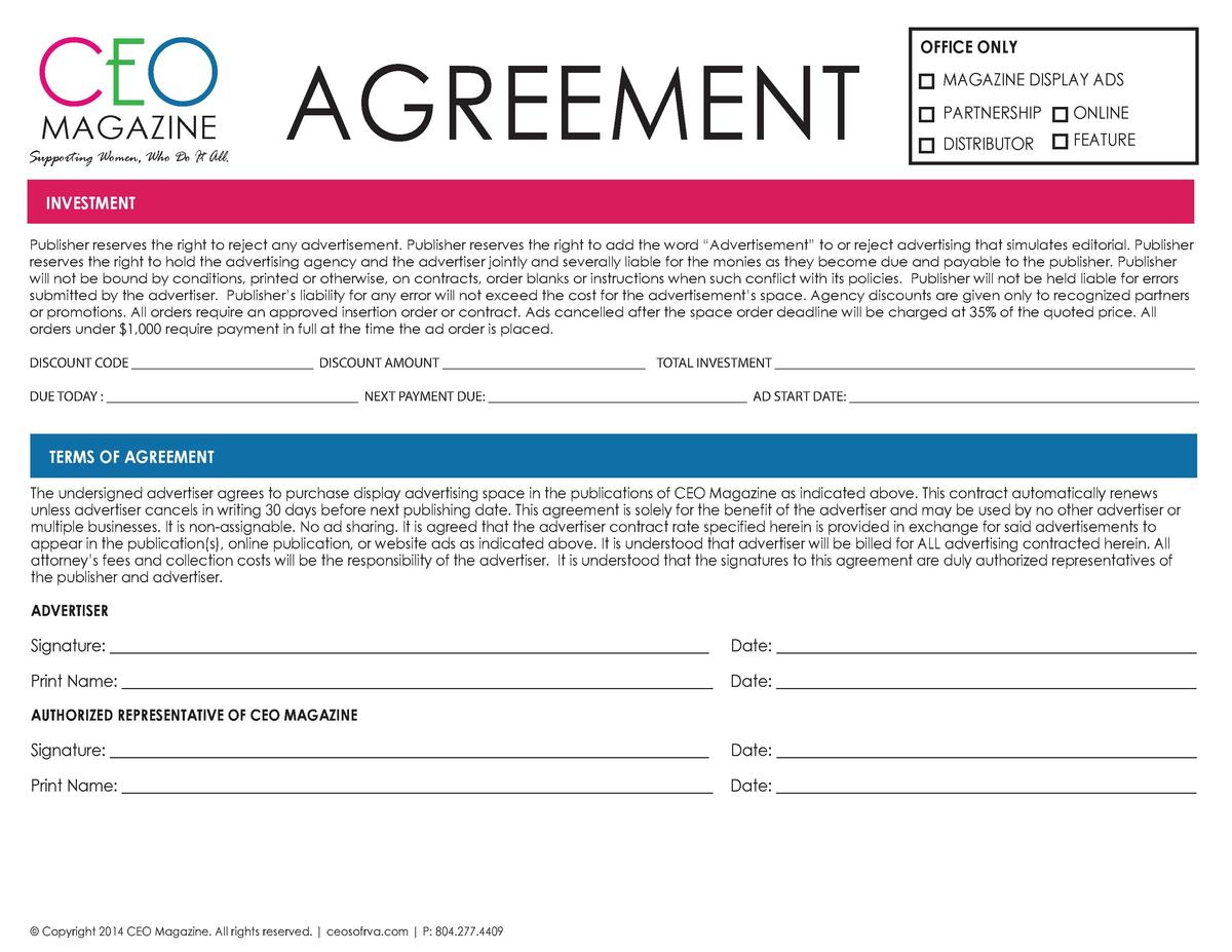 CEO AGREEMENT MAGAZINE  Supporting Women, Who Do It All.  OFFICE ONLY MAGAZINE DISPLAY ADS PARTNERSHIP  ONLINE  DISTRIBUTO...