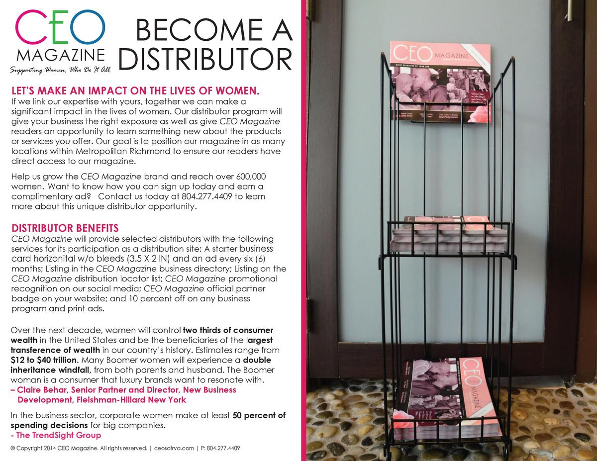 CEO MAGAZINE  Supporting Women, Who Do It All.  BECOME A DISTRIBUTOR  LET   S MAKE AN IMPACT ON THE LIVES OF WOMEN.  If we...