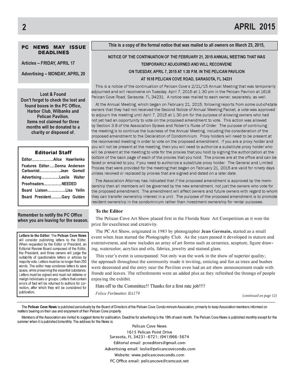 APRIL 2015  2 PC NEWS MAY ISSUE DEADLINES Articles     FRIDAY, APRIL 17  This is a copy of the formal notice that was mail...