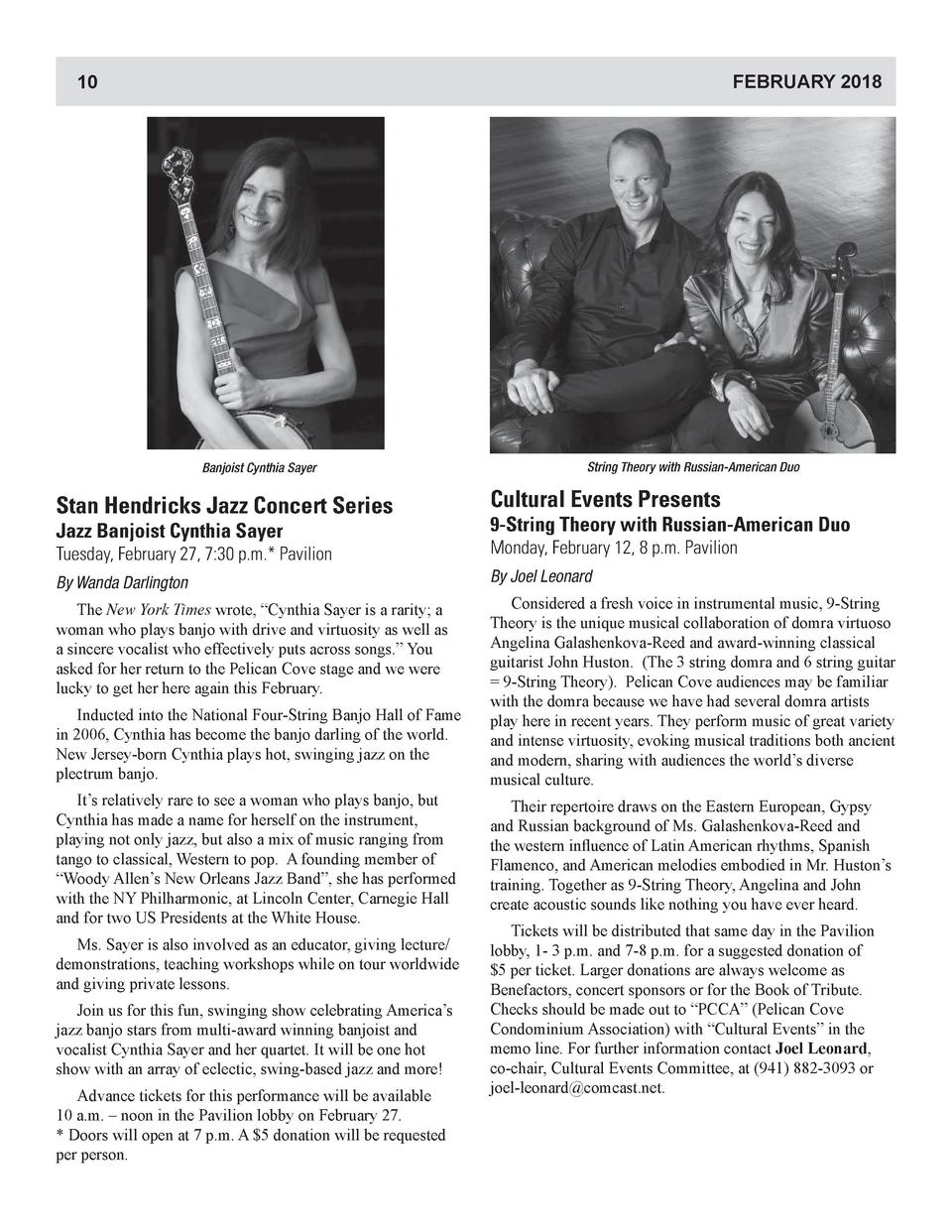 FEBRUARY 2018  10  Banjoist Cynthia Sayer  String Theory with Russian-American Duo  Stan Hendricks Jazz Concert Series  Cu...