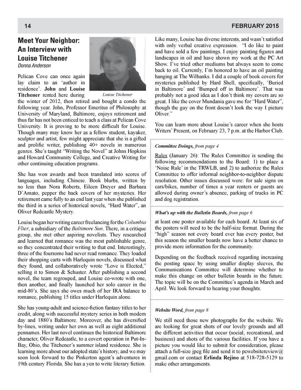 FEBRUARY 2015  14  Meet Your Neighbor  An Interview with Louise Titchener Donna Anderson  Pelican Cove can once again lay ...