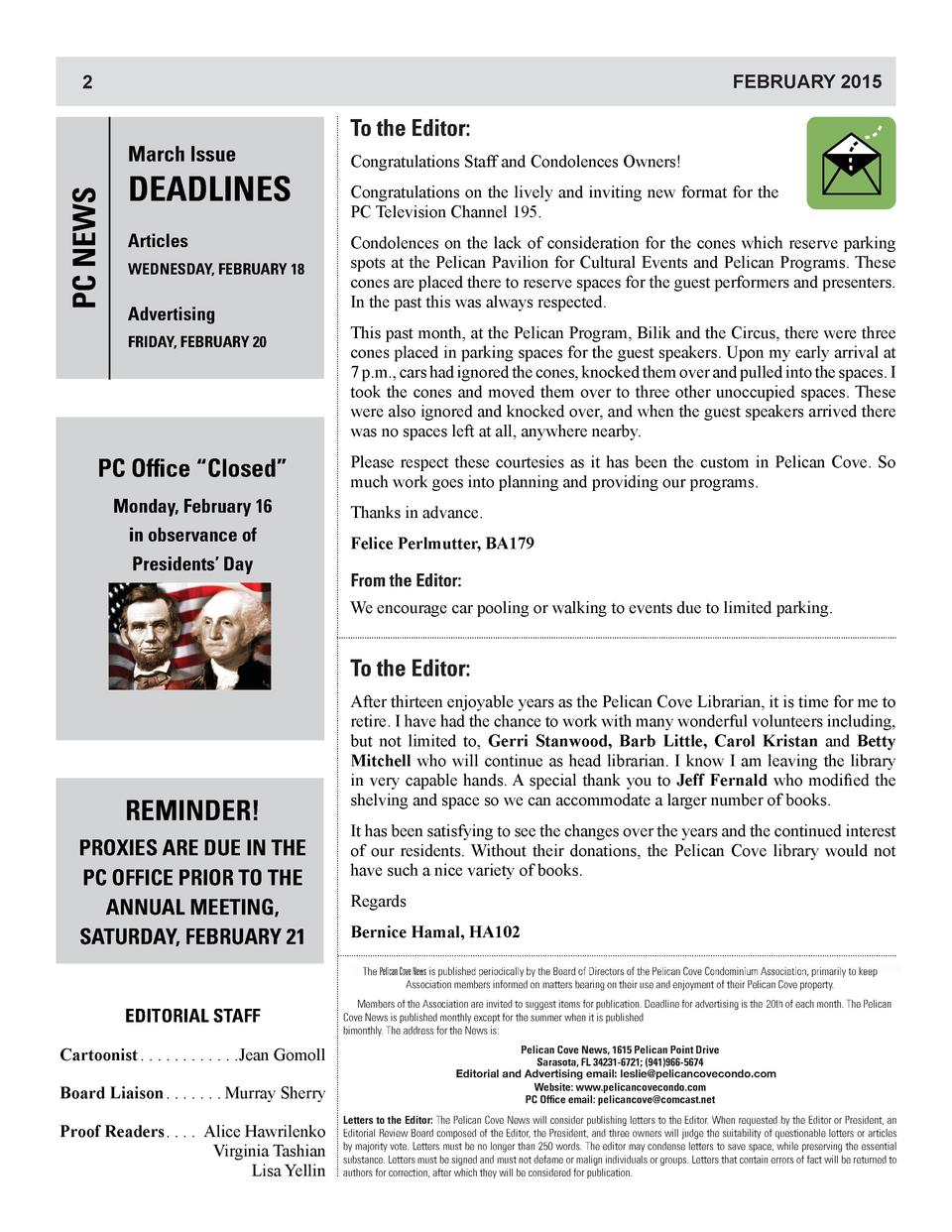 2 2 2  2  PC NEWS  March Issue  DEADLINES Articles WEDNESDAY, FEBRUARY 18  Advertising FRIDAY, FEBRUARY 20  PC Office    C...