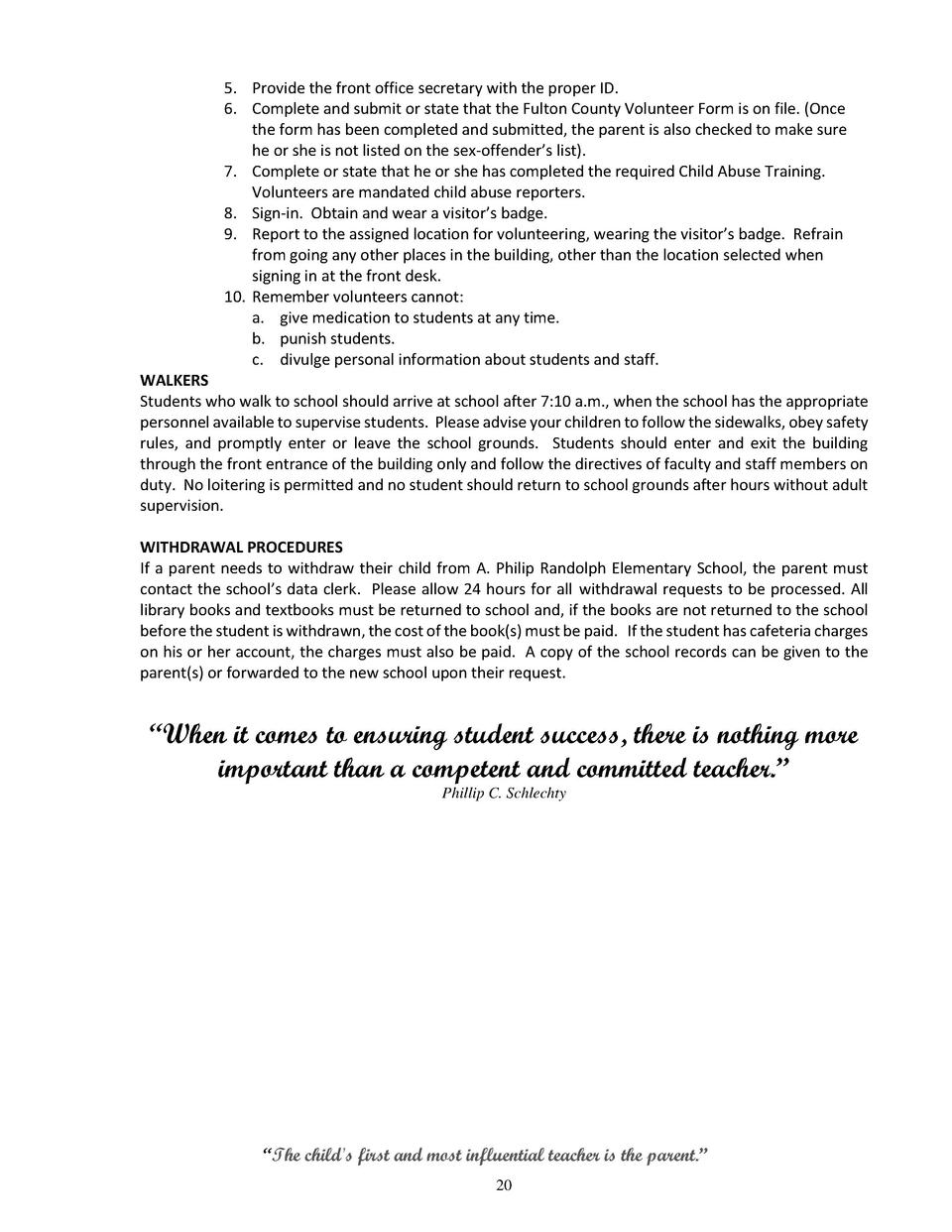 Parentstudent handbook 2015 201 simplebooklet 5 provide the front office secretary with the proper id 6 complete and xflitez Choice Image