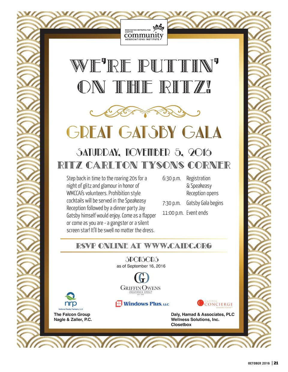 We   re Puttin    on the Ritz   Saturday, November 5, 2016 Ritz Carlton Tysons Corner Step back in time to the roaring 20s...