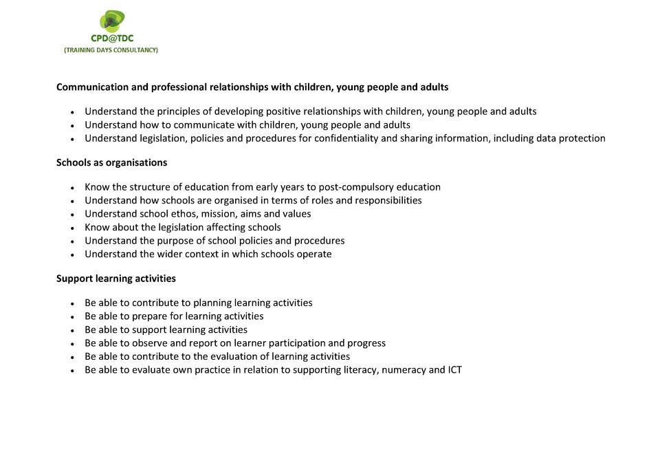 Communication and professional relationships with children, young people and adults              Understand the principles...