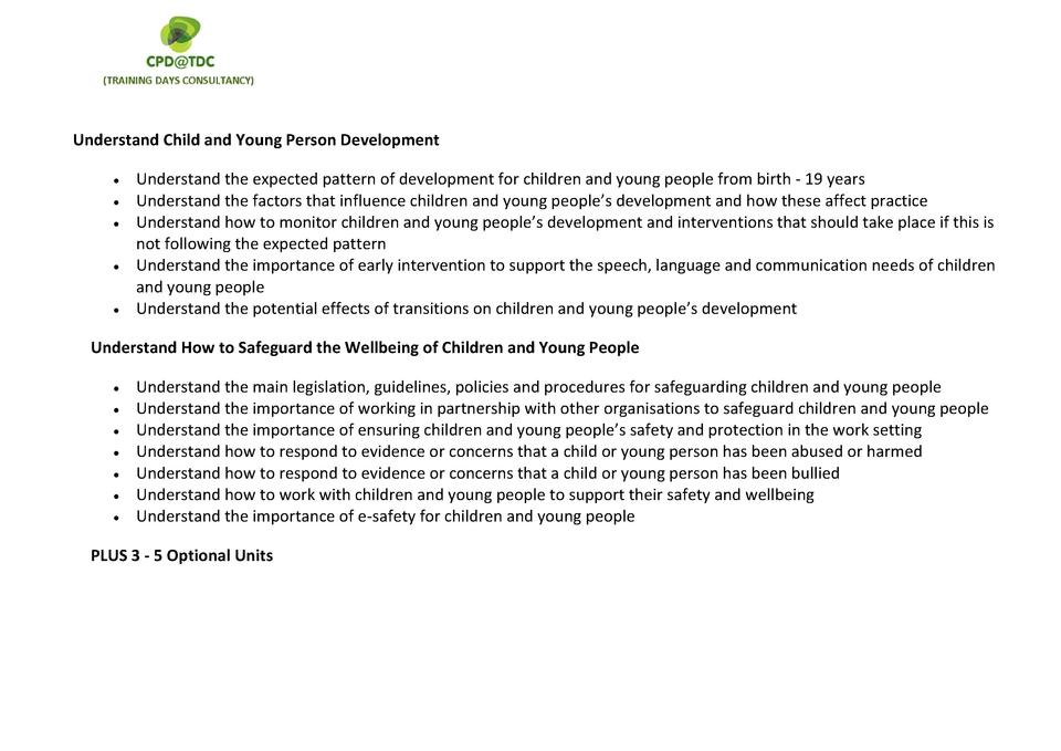 understand children and young persons development