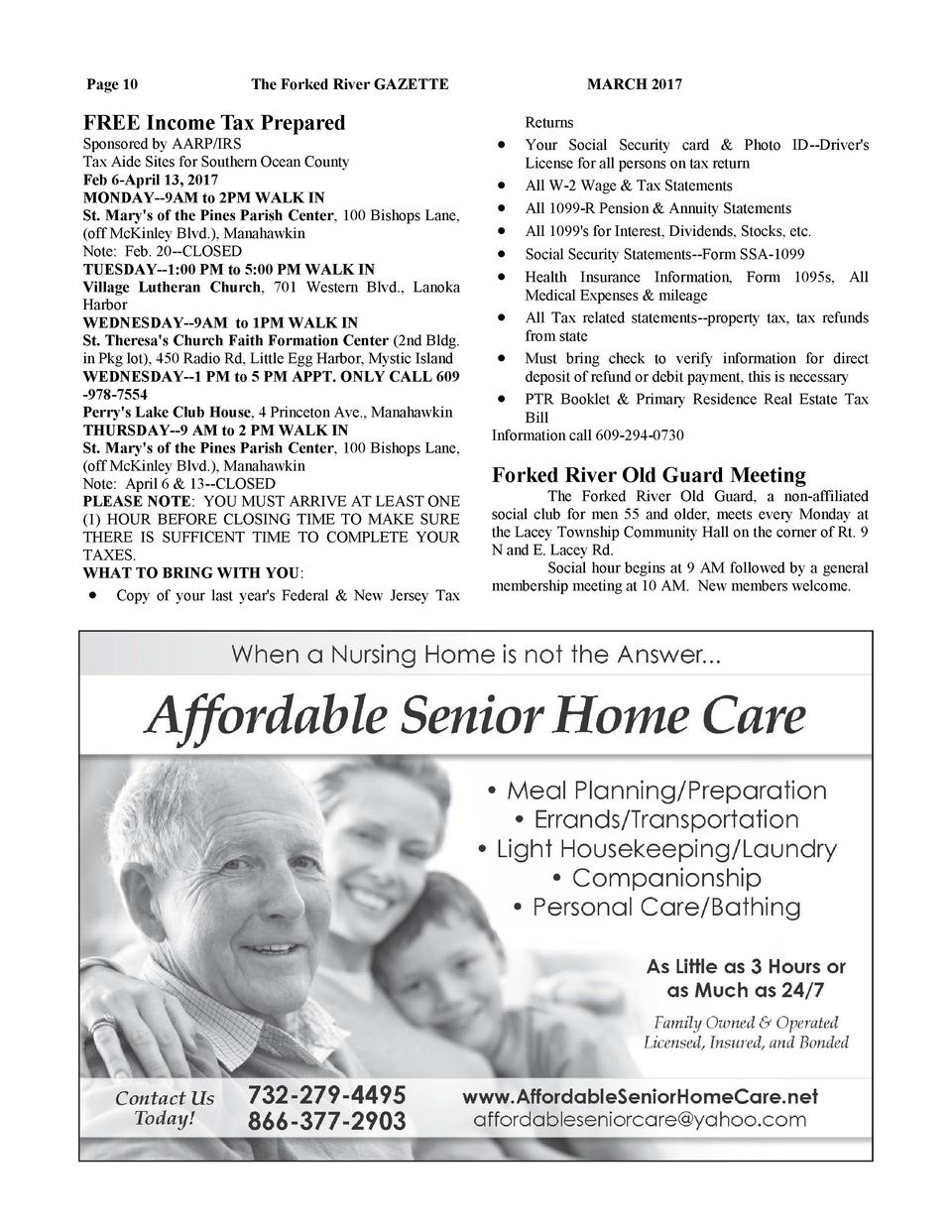 Page 10  The Forked River GAZETTE  FREE Income Tax Prepared Sponsored by AARP IRS Tax Aide Sites for Southern Ocean County...