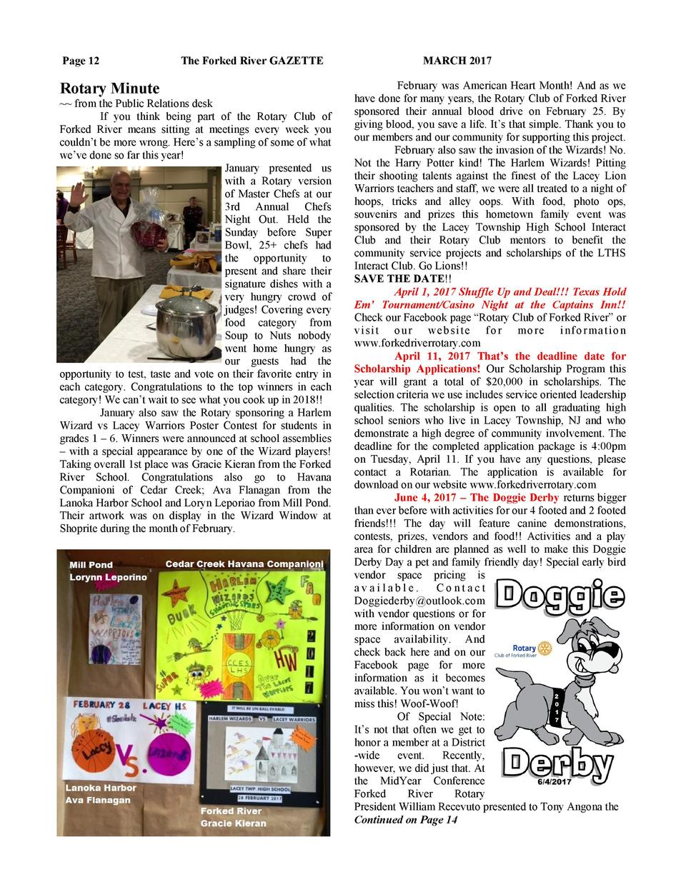 Page 12  The Forked River GAZETTE  Rotary Minute    from the Public Relations desk If you think being part of the Rotary C...