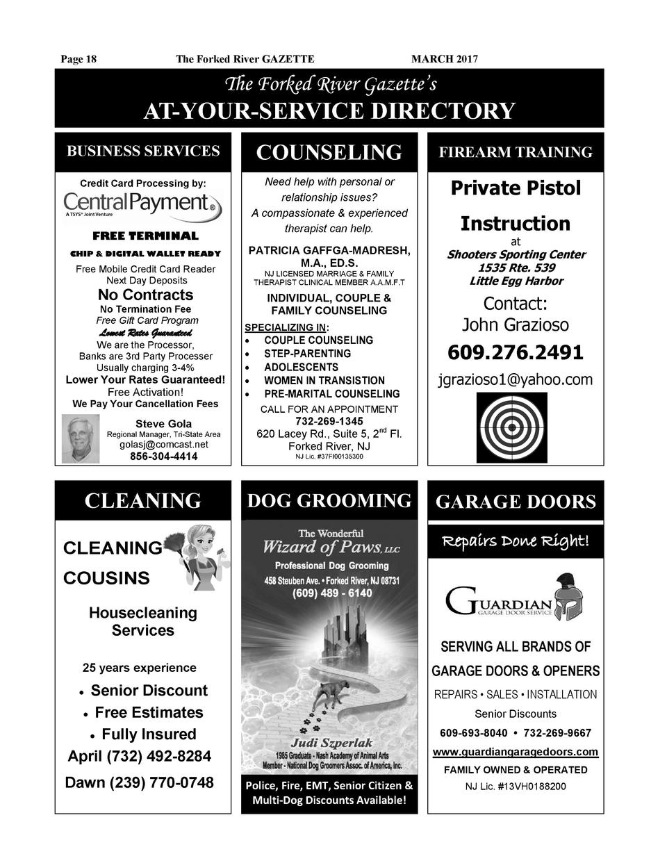 Page 18  The Forked River GAZETTE  MARCH 2017  The Forked River Gazette   s  AT-YOUR-SERVICE DIRECTORY BUSINESS SERVICES  ...