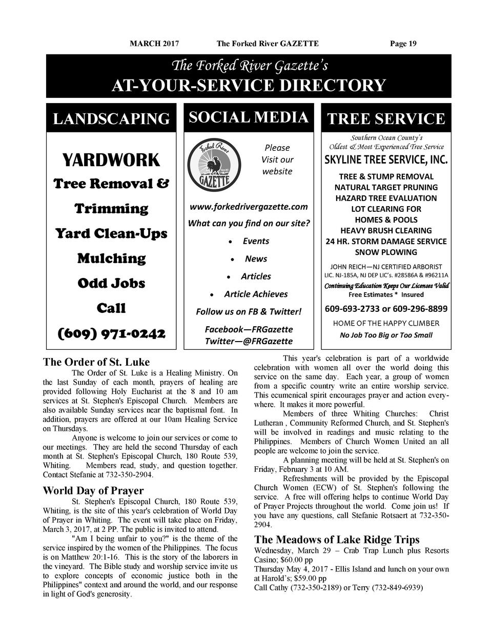 MARCH 2017  The Forked River GAZETTE  Page 19  The Forked River Gazette   s  AT-YOUR-SERVICE DIRECTORY LANDSCAPING  SOCIAL...