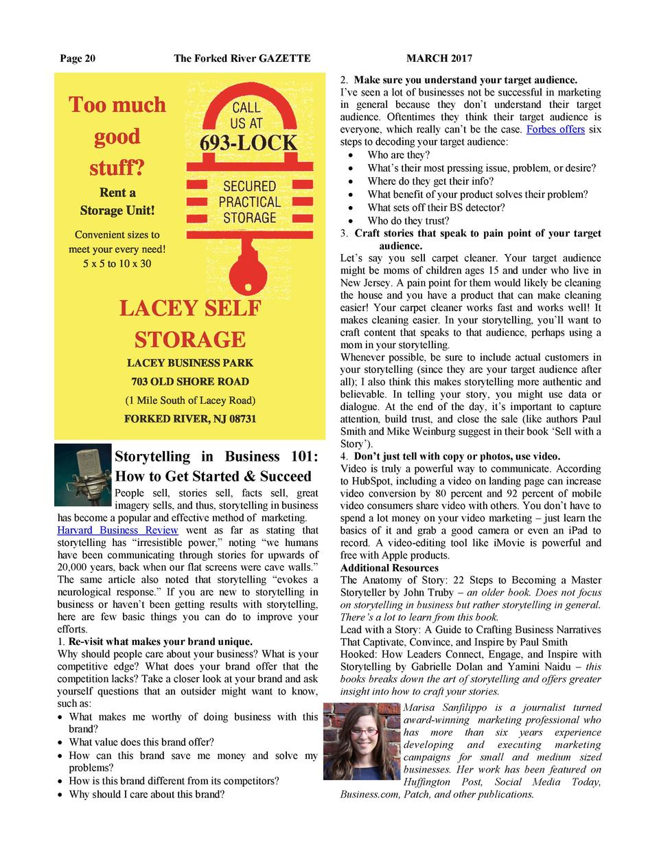 Page 20  The Forked River GAZETTE  Storytelling in Business 101  How to Get Started   Succeed People sell, stories sell, f...
