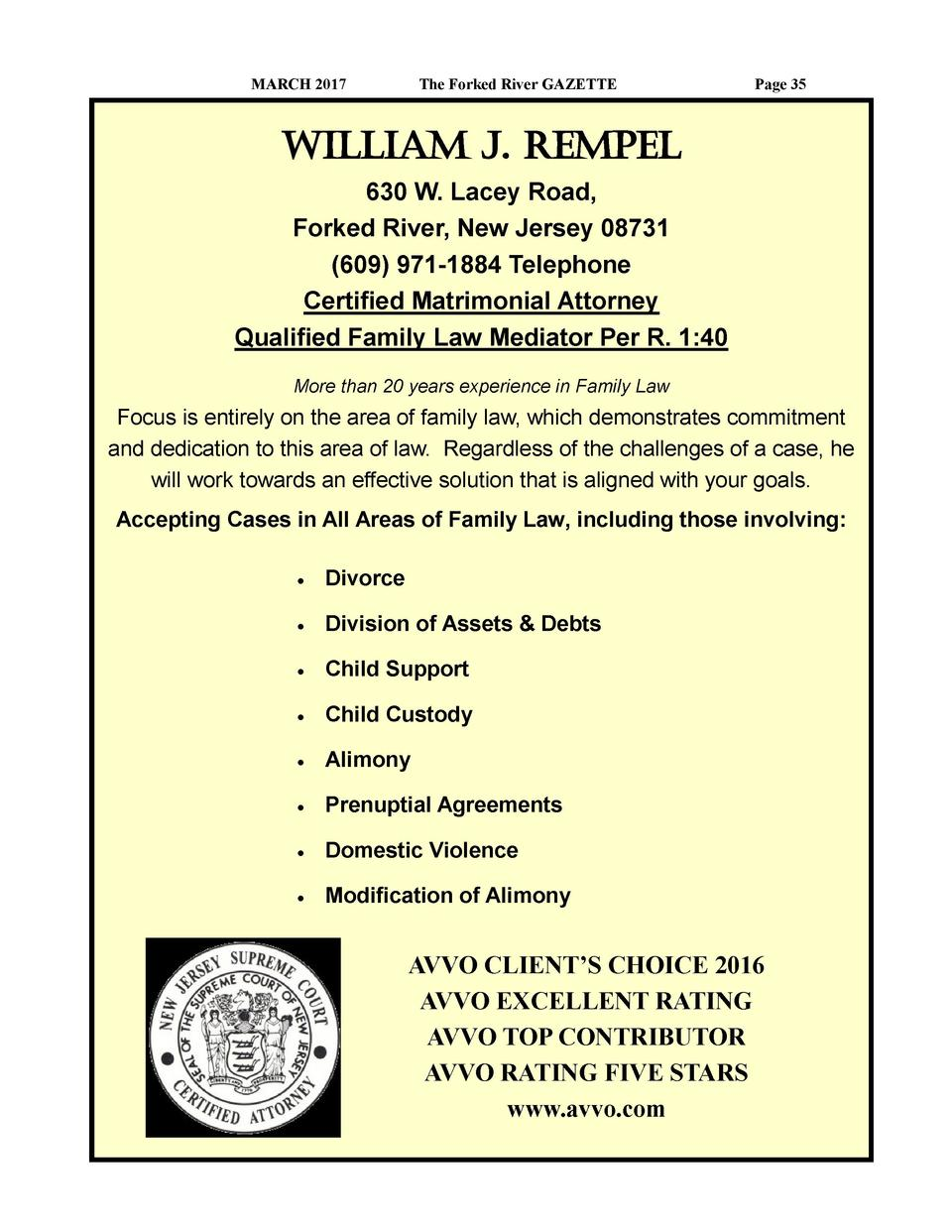 MARCH 2017  The Forked River GAZETTE  Page 35  William J. Rempel 630 W. Lacey Road, Forked River, New Jersey 08731  609  9...