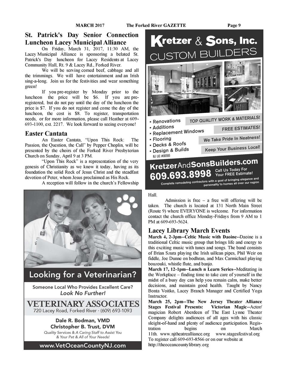 MARCH 2017  The Forked River GAZETTE  Page 9  St. Patrick s Day Senior Connection Luncheon Lacey Municipal Alliance On Fri...