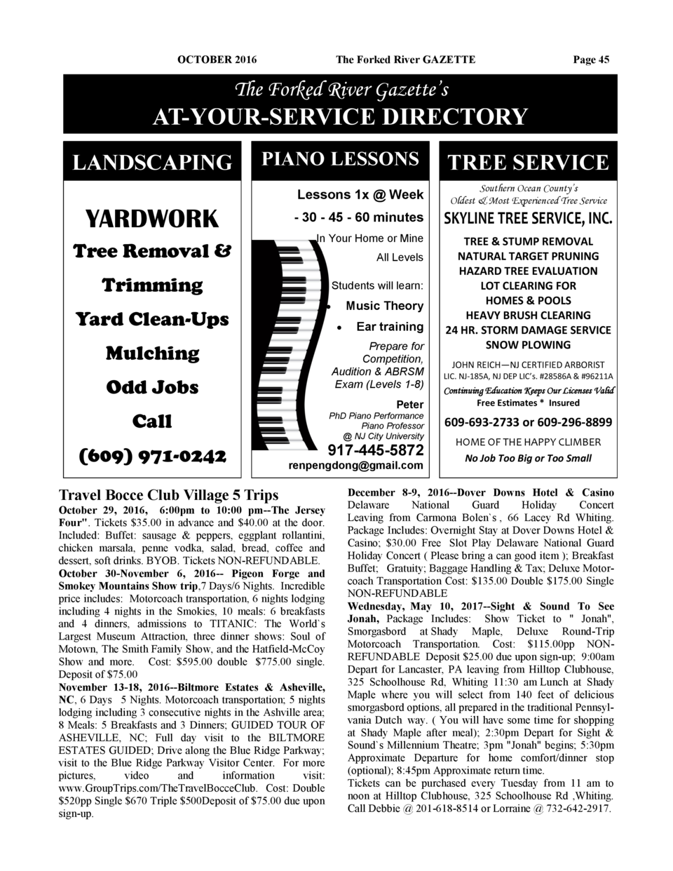 OCTOBER 2016  The Forked River GAZETTE  Page 45  The Forked River Gazette   s  AT-YOUR-SERVICE DIRECTORY LANDSCAPING  PIAN...
