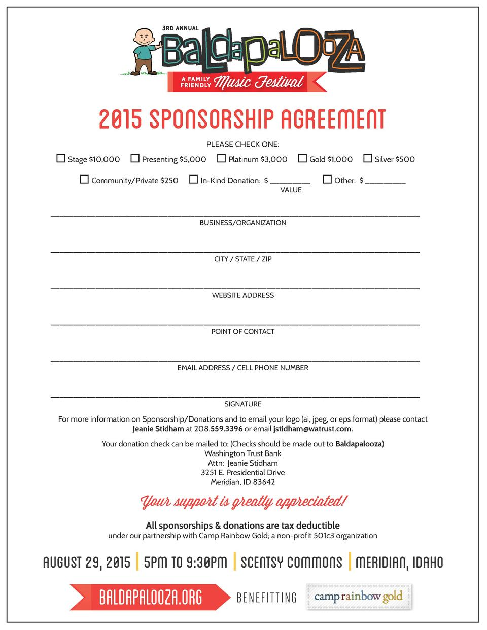 Music Festival  2015 SPONSORSHIP AGREEMENT PLEASE CHECK ONE  Stage  10,000  Presenting  5,000  Community Private  250  ...