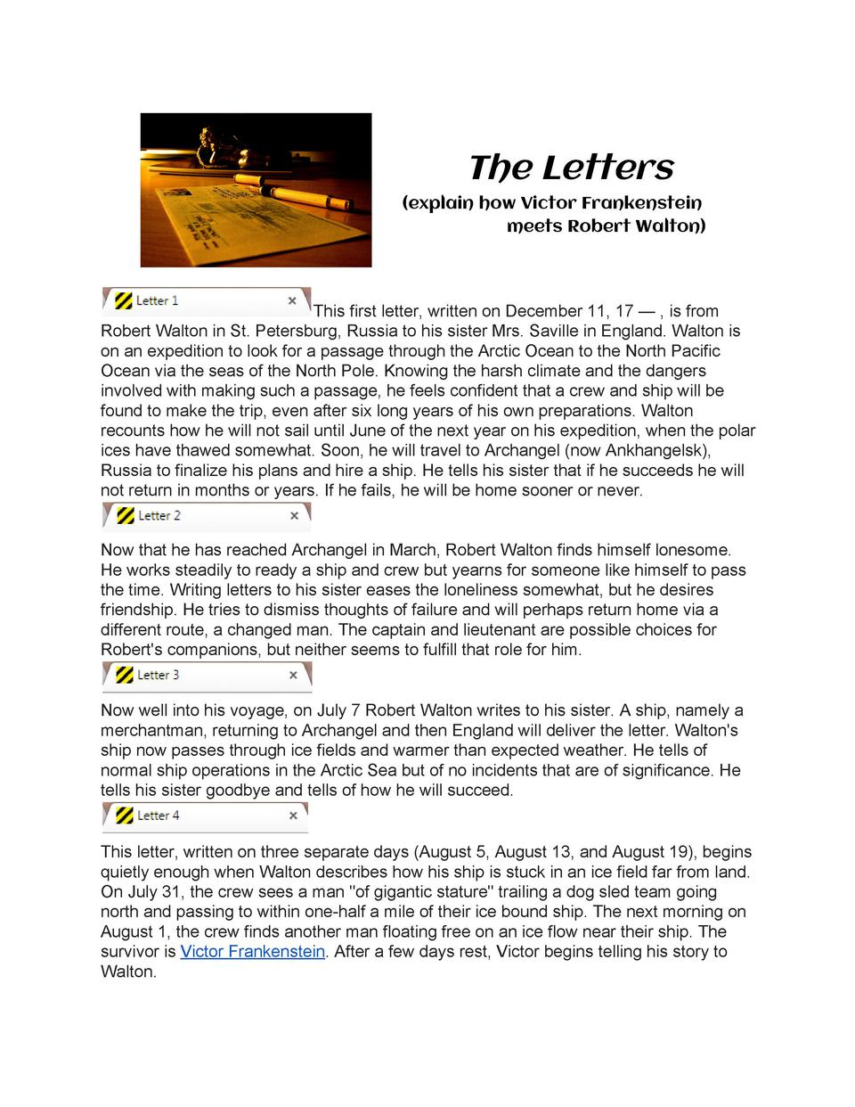 The  Letters              explain  how  Victor  Frankenstein                                                  meets  R...