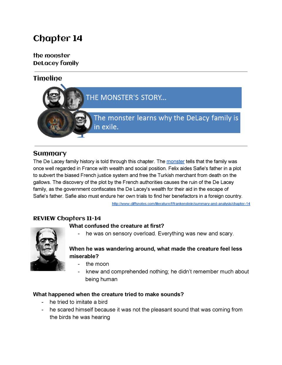 Chapter  14      the  monster   DeLacey  family       Timeline          Summary   The  De  Lacey  family  history  is  tol...