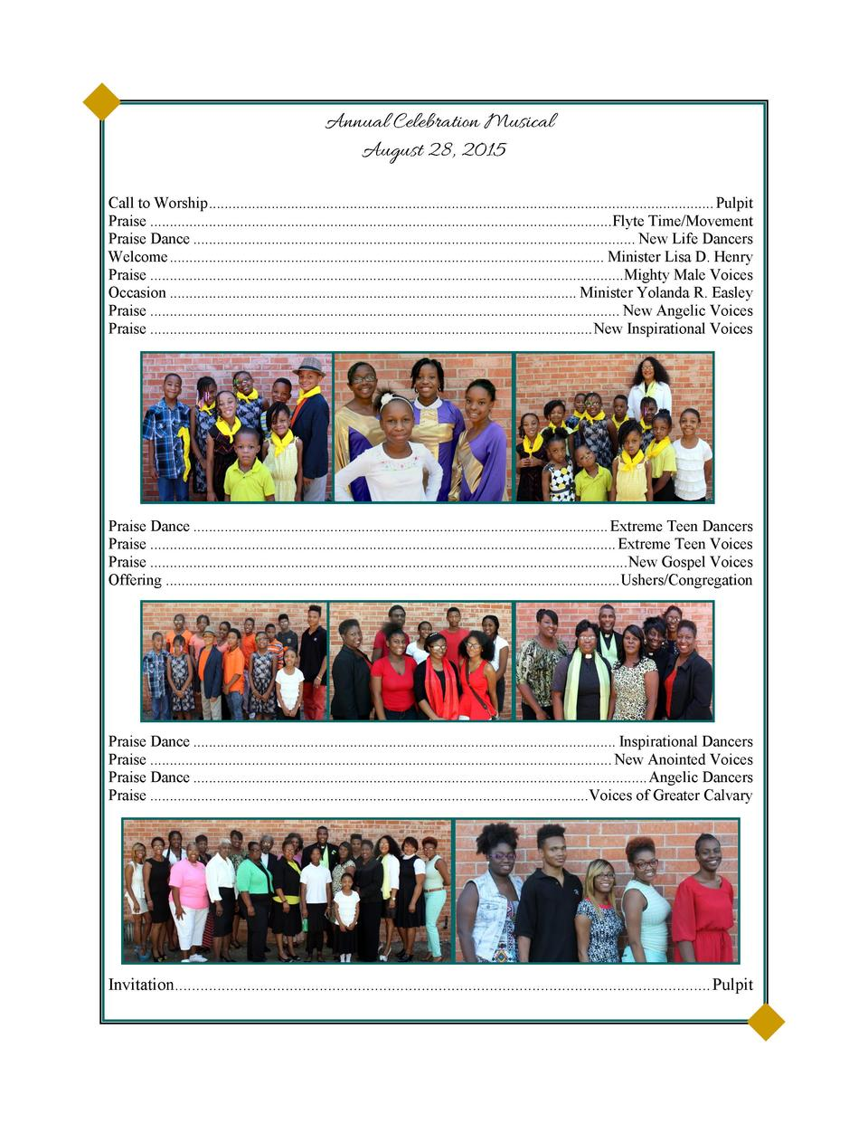 Annual Celebration Musical August 28, 2015 Call to Worship...................................................................