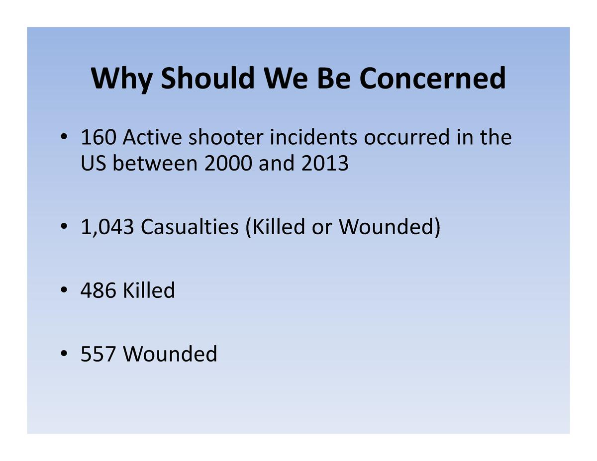 Why Should We Be Concerned Why  Should  We  Be  Concerned     160 Active shooter incidents occurred in the 160  Active  sh...