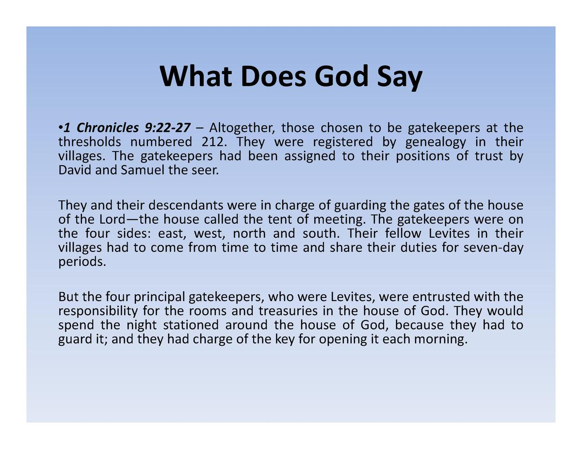 What Does God Say What  Does  God  Say    1 Chronicles 9 22   27     Altogether, those chosen to be gatekeepers at the thr...