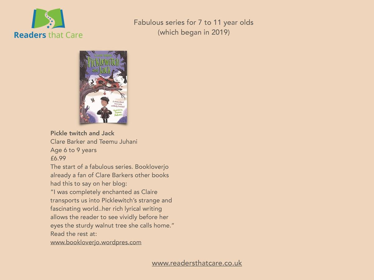 Fabulous series for 7 to 11 year olds  which began in 2019   Pickle twitch and Jack Clare Barker and Teemu Juhani Age 6 to...