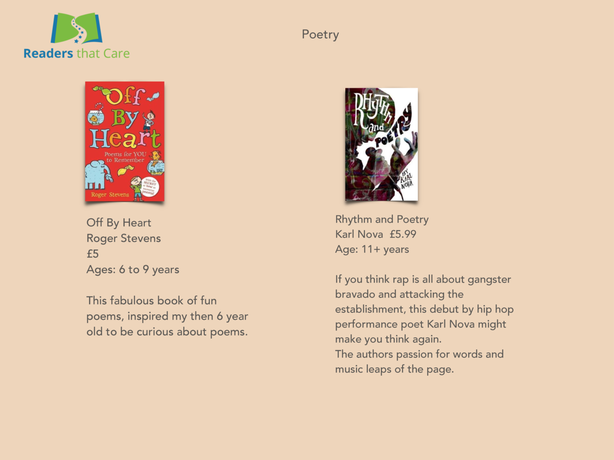 Poetry  Off By Heart Roger Stevens   5 Ages  6 to 9 years This fabulous book of fun poems, inspired my then 6 year old to ...