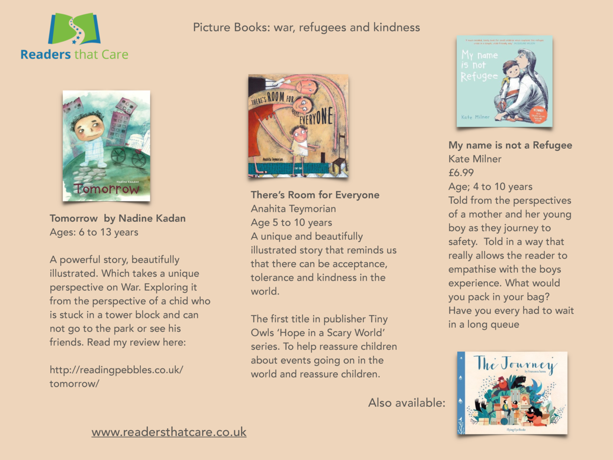 Picture Books  war, refugees and kindness  Tomorrow by Nadine Kadan Ages  6 to 13 years A powerful story, beautifully illu...