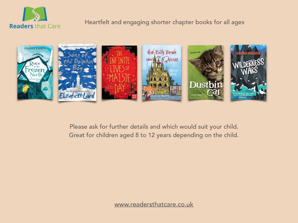 Heartfelt and engaging shorter chapter books for all ages  Please ask for further details and which would suit your child....