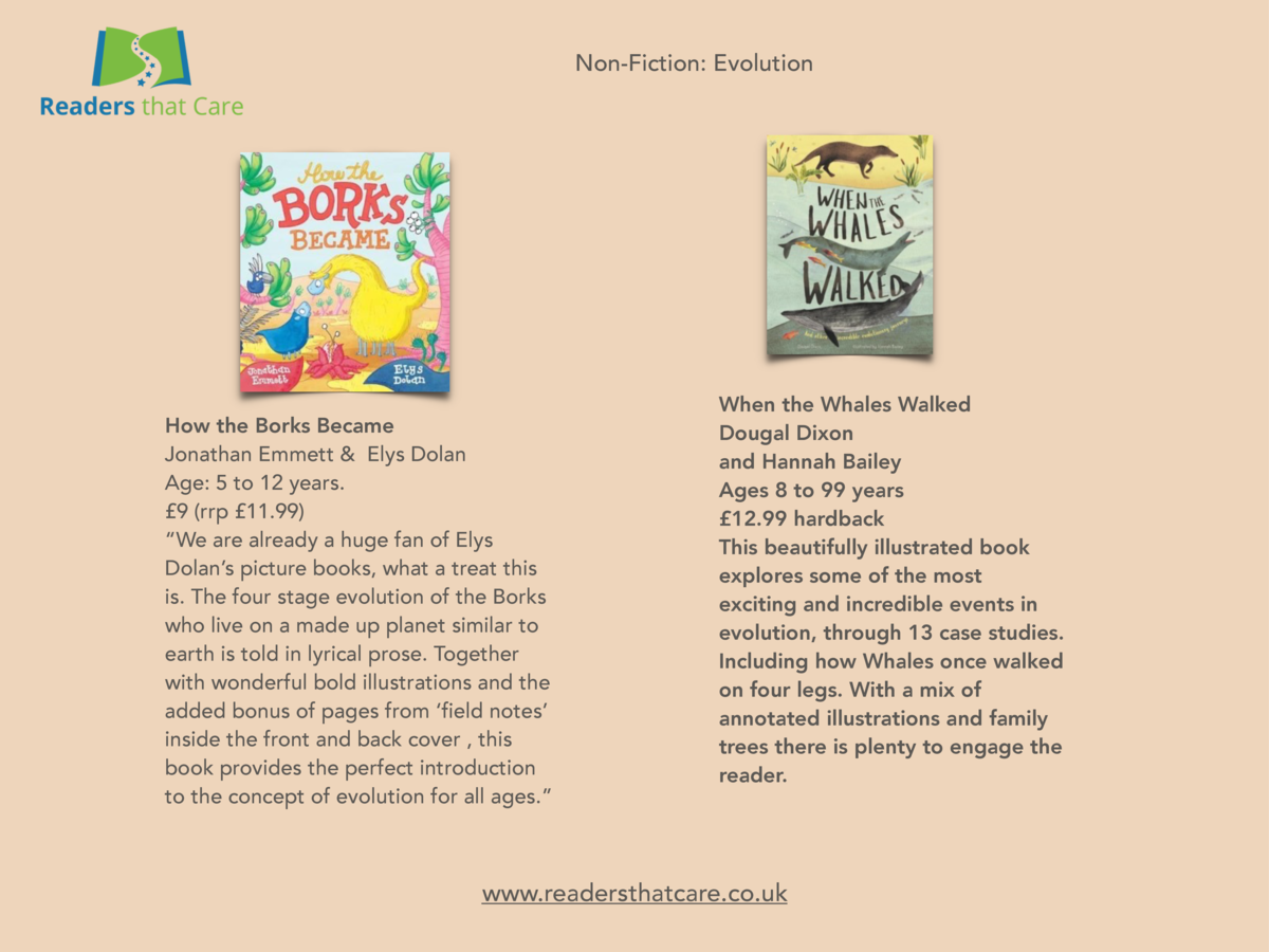 Non-Fiction  Evolution  How the Borks Became Jonathan Emmett   Elys Dolan Age  5 to 12 years.   9  rrp   11.99     We are ...