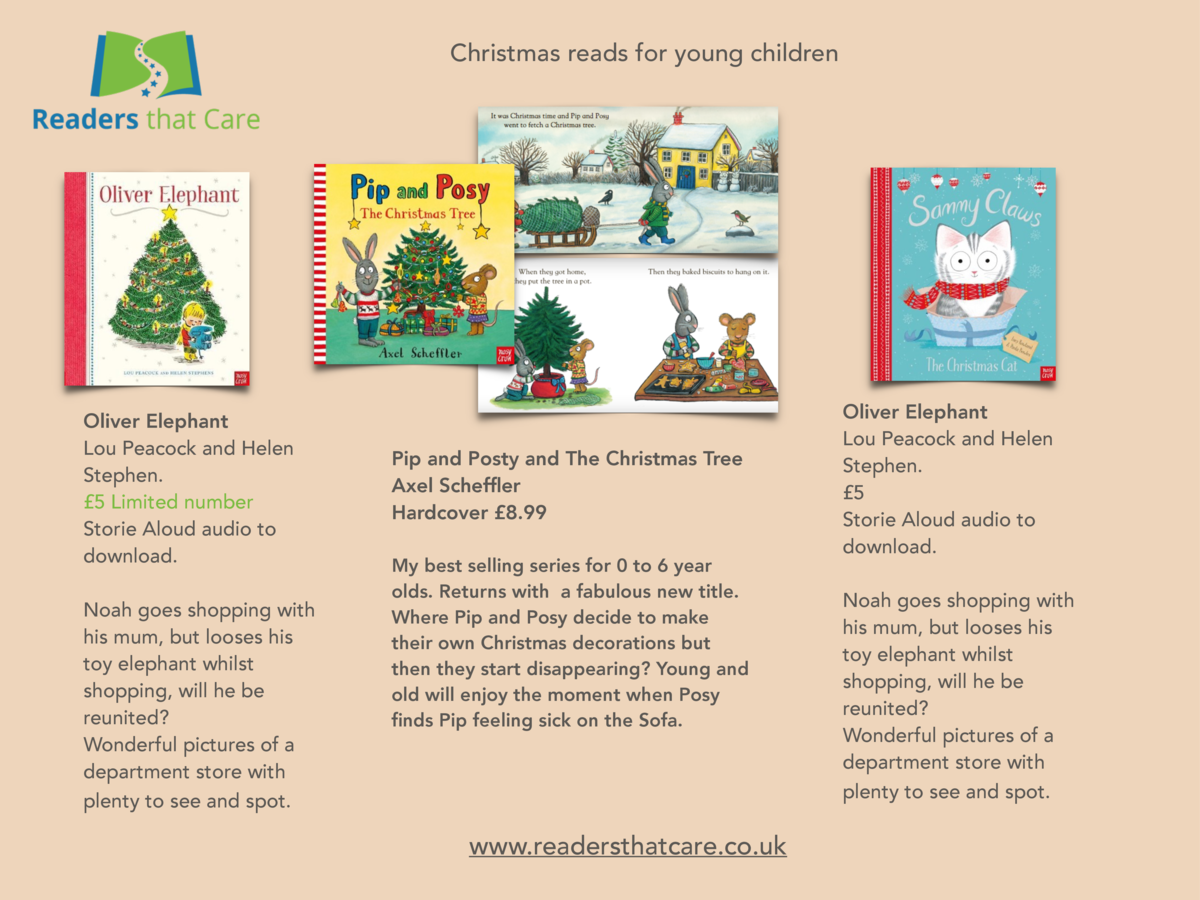 Christmas reads for young children  Oliver Elephant Lou Peacock and Helen Stephen.   5 Limited number Storie Aloud audio t...