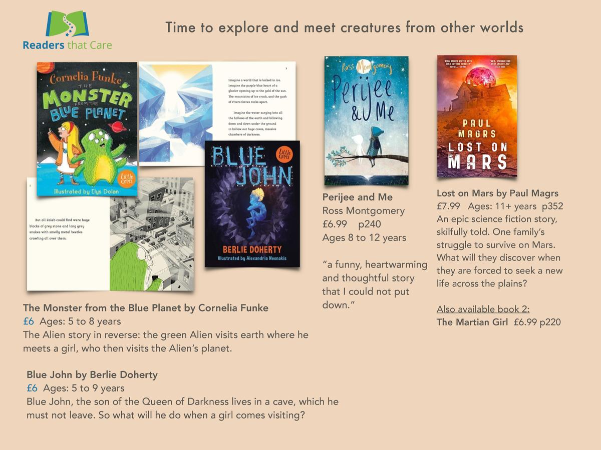 Time to explore and meet creatures from other worlds  Lost on Mars by Paul Magrs   7.99 Ages  11  years p352 An epic scien...