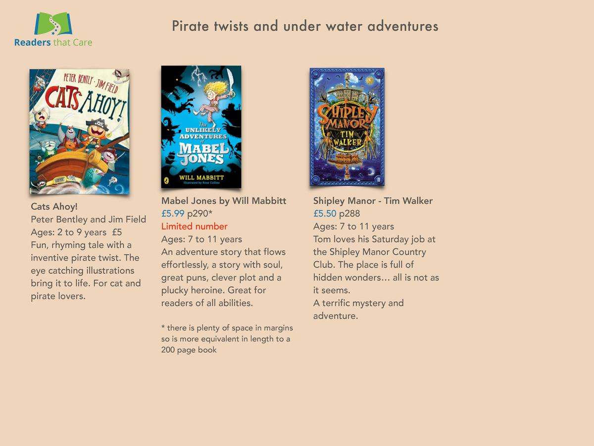 Pirate twists and under water adventures  Cats Ahoy  Peter Bentley and Jim Field Ages  2 to 9 years   5 Fun, rhyming tale ...