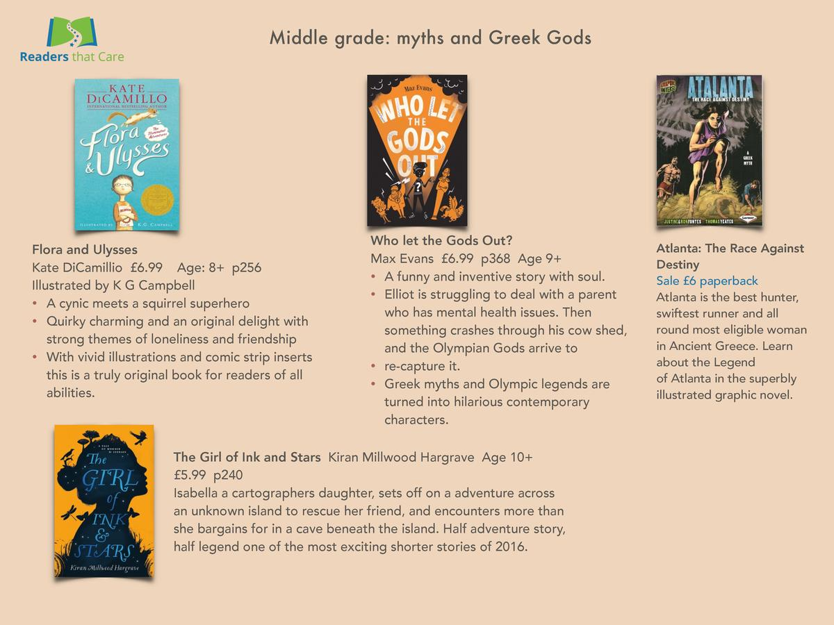 Middle grade  myths and Greek Gods  Flora and Ulysses Kate DiCamillio   6.99 Age  8  p256 Illustrated by K G Campbell     ...