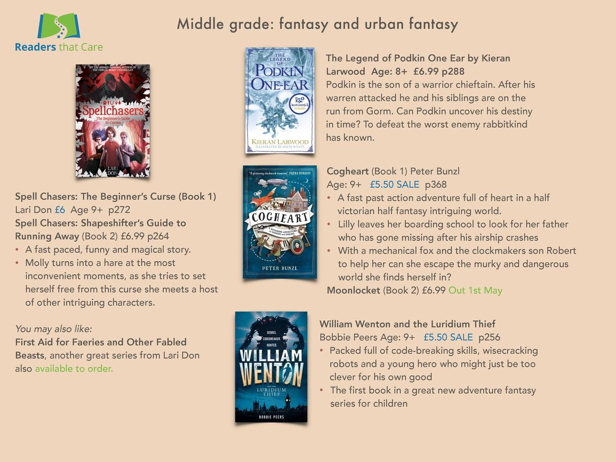 Middle grade  fantasy and urban fantasy The Legend of Podkin One Ear by Kieran Larwood Age  8    6.99 p288 Podkin is the s...