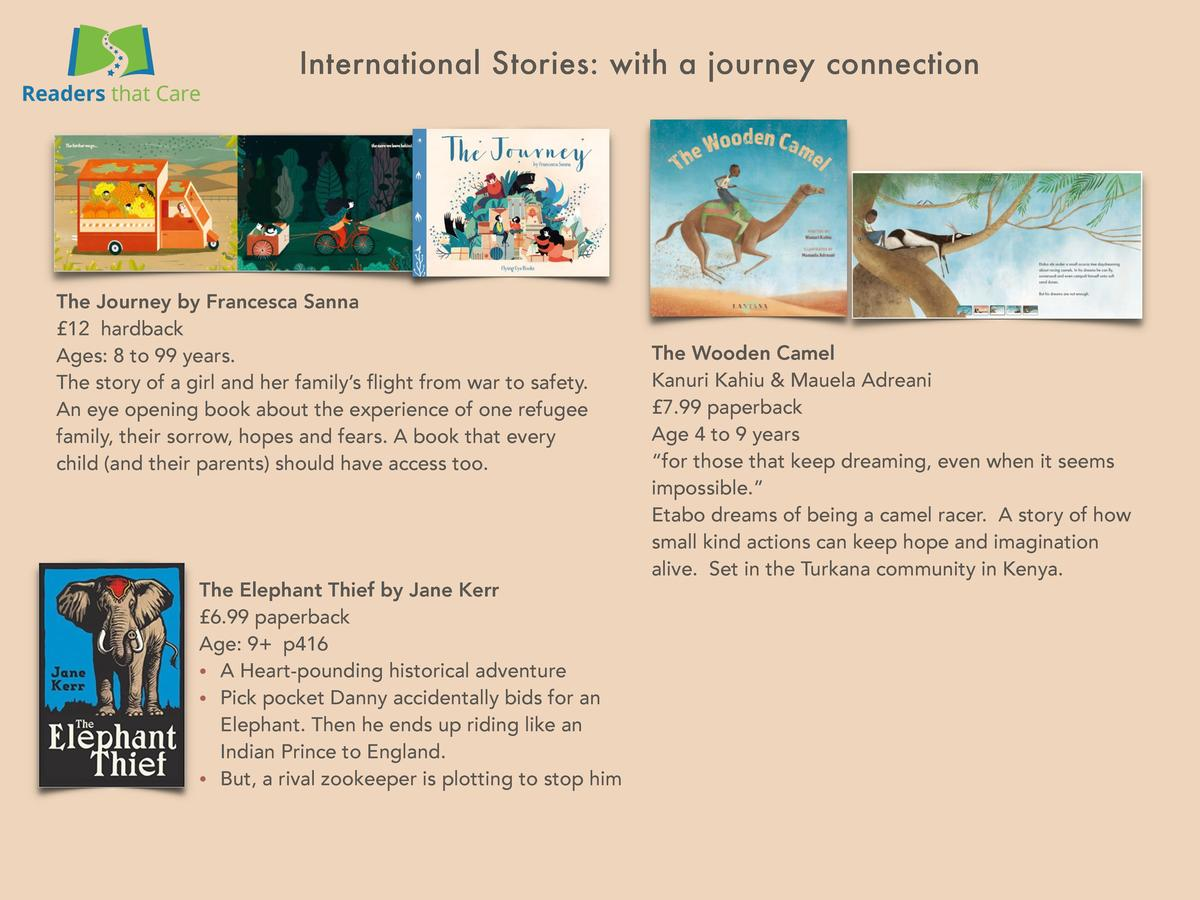 International Stories  with a journey connection  The Journey by Francesca Sanna   12 hardback Ages  8 to 99 years. The st...