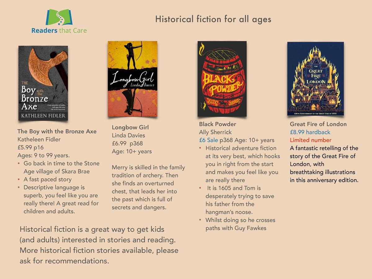 Historical fiction for all ages  The Boy with the Bronze Axe Katheleen Fidler   5.99 p16 Ages  9 to 99 years.     Go back ...