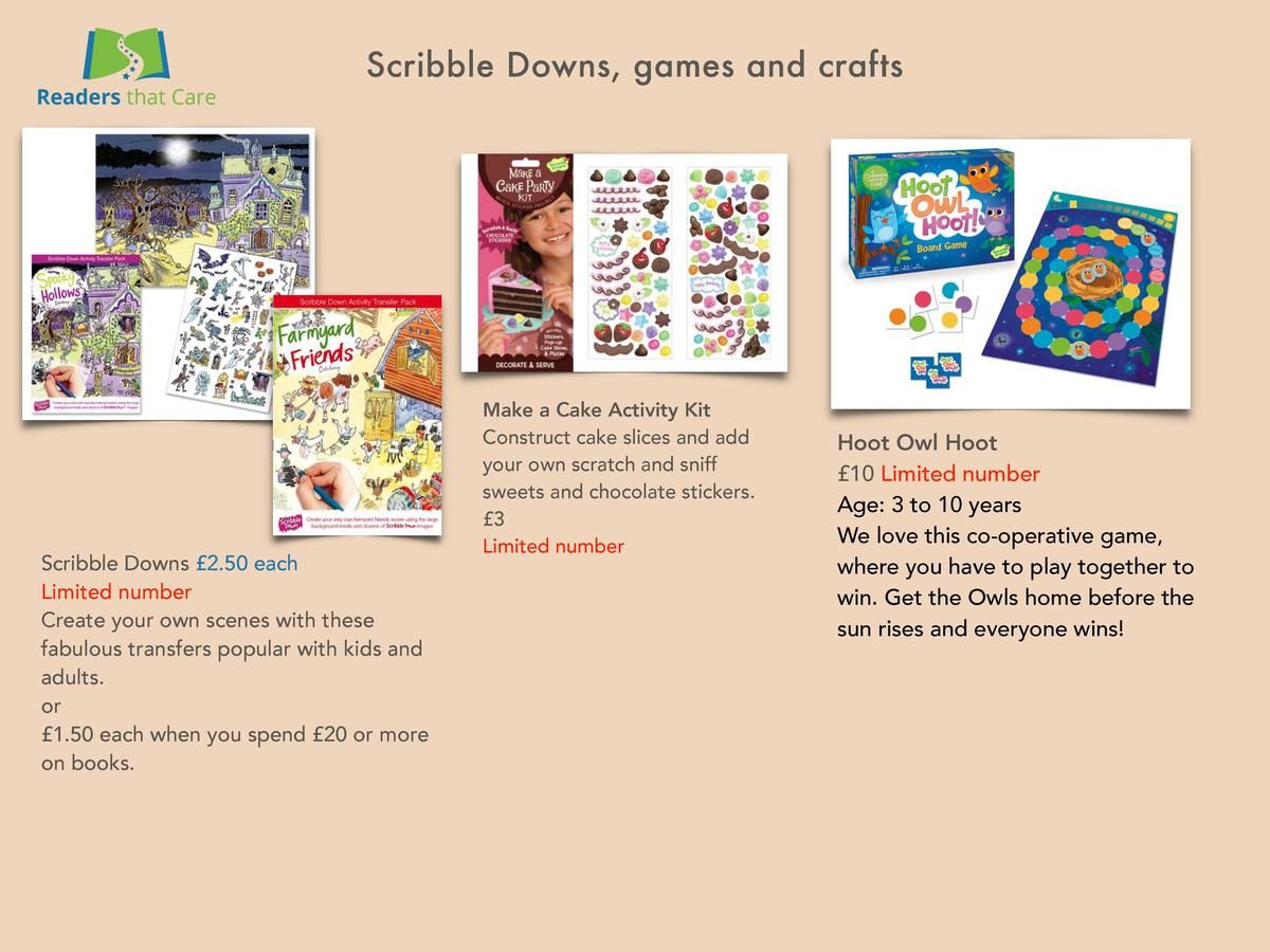 Scribble Downs, games and crafts  Scribble Downs   2.50 each Limited number Create your own scenes with these fabulous tra...