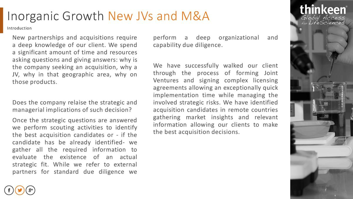 Inorganic Growth New JVs and M A Introduction  New partnerships and acquisitions require a deep knowledge of our client. W...