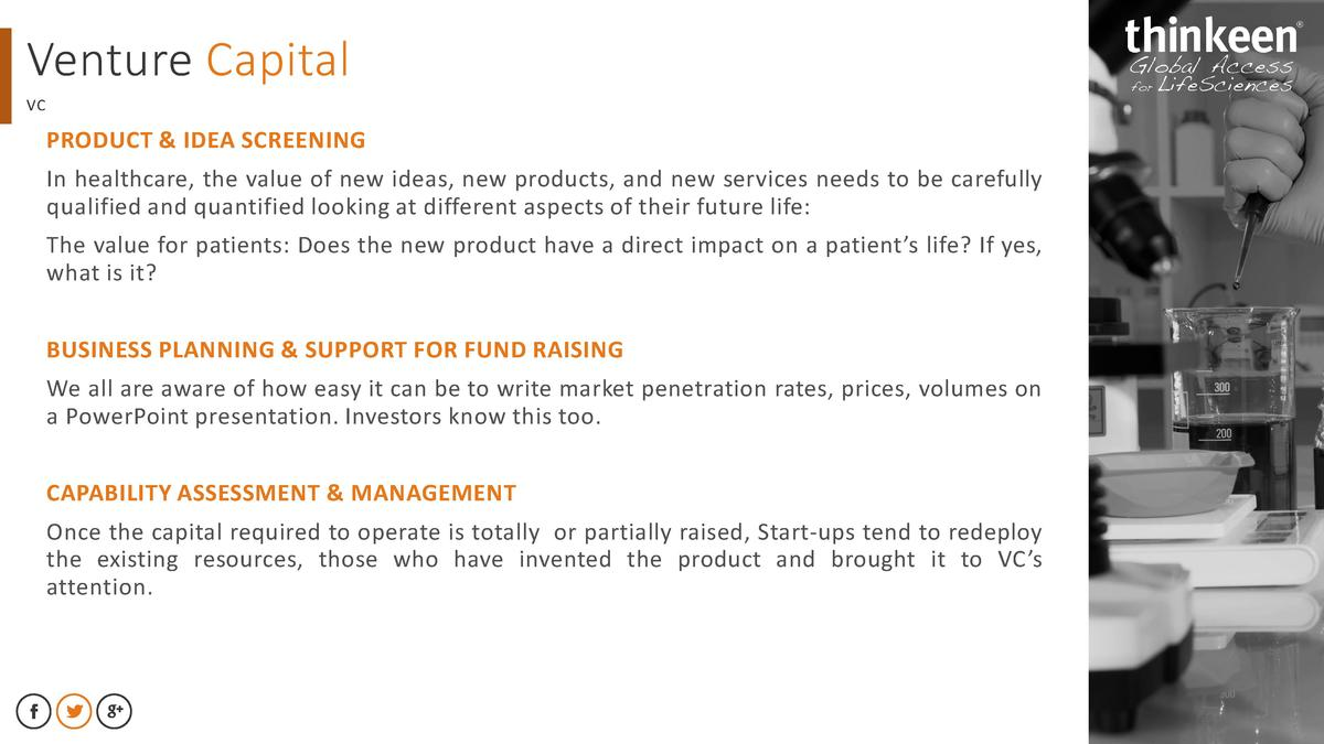 Venture Capital VC  PRODUCT   IDEA SCREENING  In healthcare, the value of new ideas, new products, and new services needs ...