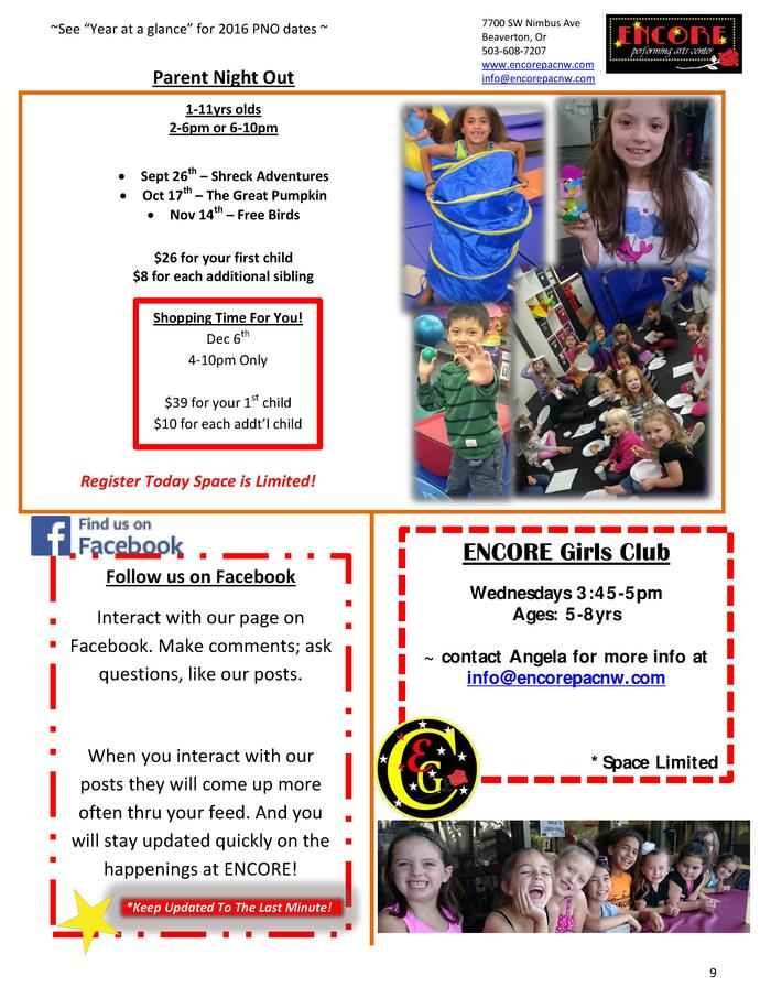 See    Year at a glance    for 2016 PNO dates    Parent Night Out  7700 SW Nimbus Ave Beaverton, Or 503-608-7207 www.enco...