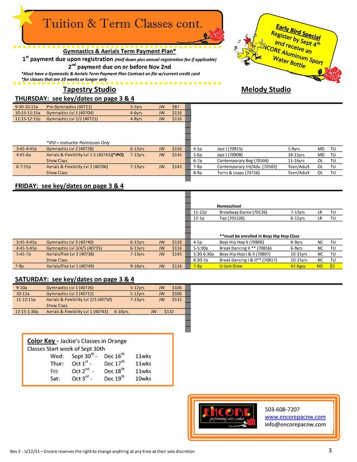 Tuition   Term Classes cont. Gymnastics   Aerials Term Payment Plan  1 payment due upon registration  Half down plus annua...