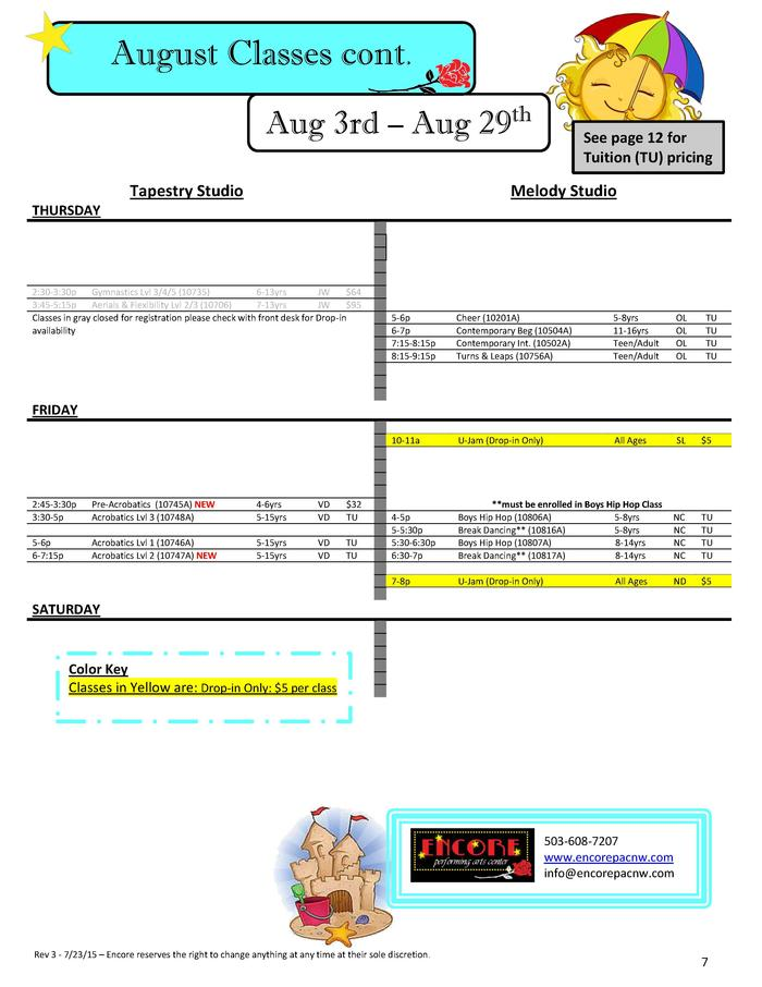 August Classes cont. Aug 3rd     Aug 29th Tapestry Studio  See page 12 for Tuition  TU  pricing  Melody Studio  THURSDAY  ...