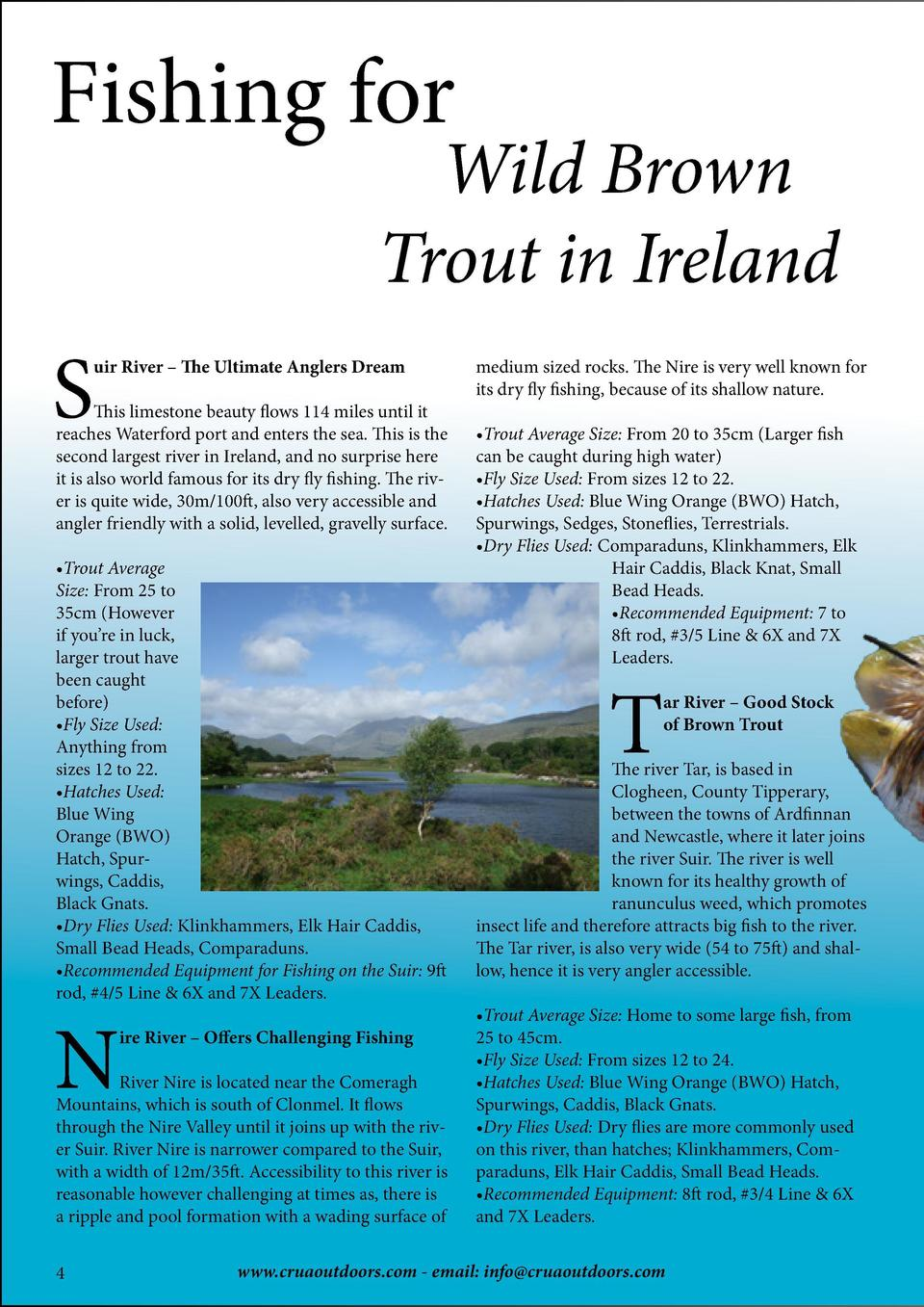 Fishing for  Wild Brown Trout in Ireland  S  uir River     The Ultimate Anglers Dream  This limestone beauty flows 114 mil...