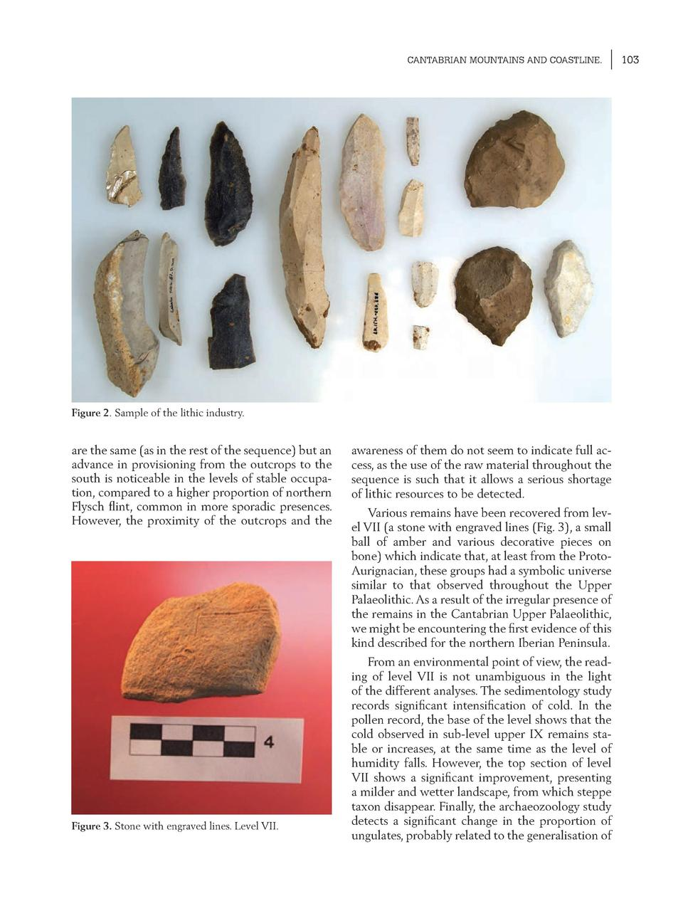 CANTABRIAN MOUNTAINS AND COASTLINE.  Figure 2. Sample of the lithic industry.  are the same  as in the rest of the sequenc...